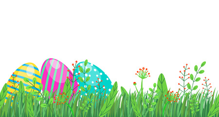 Easter seamless border with eggs, spring grass and floral elements, flowers isolated on white background in minimal style.