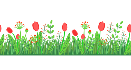 Spring grass seamless border vector with flowers. Floral wildflower springtime nature plant element isolated on white background in minimal style.
