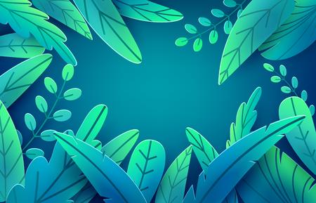 Paper spring leaves vector banner. Paper cut style isolated on dark background. Fantasy floral leaf art illustration. Springtime concept template. Easter decoration elements. Illustration