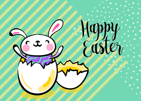 Happy easter greeting background with cute easter bunny in the broken egg. Striped and dots texture, with copy space. Vector illustration in hand drawing sketch outline hipster style.