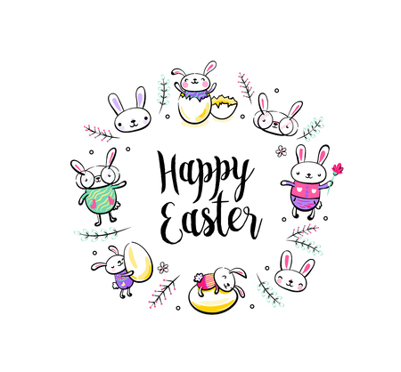 Happy Easter greeting card, poster with cute smiling surprise rabbit scene, broken egg, bunny and chick characters. Vector illustration in hand drawing sketch outline style.