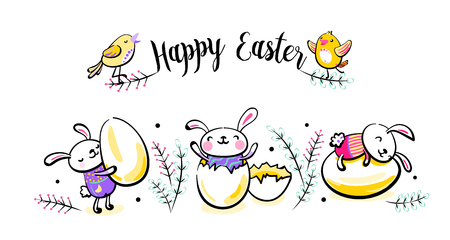Happy Easter greeting card, poster with cute smiling surprise rabbit scene, bunny, broken egg and chick characters. Vector illustration in hand drawing sketch outline style.  イラスト・ベクター素材