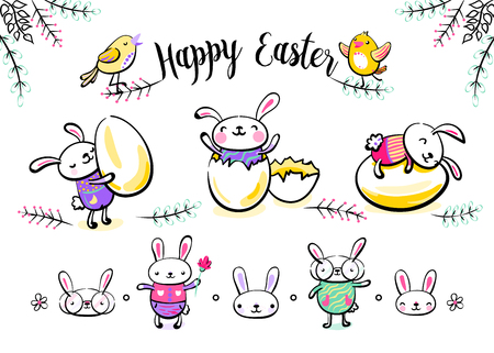 Cute easter bunny characters set with smiling surprise rabbit scene, broken egg, animal faces, spring grass flowers, singing chickens. Vector illustration in hand drawing sketch outline style.