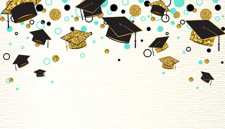Graduation word with graduate cap, black and gold color, glitter dots on a white background. Congratulation graduates class of. Design for greeting, banner, invitation. Vector illustration. 免版税图像 - 117534676