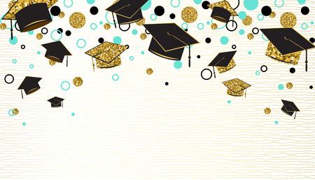 Palabra de graduación con gorro de posgrado, color negro y dorado, puntos de brillo sobre un fondo blanco. Enhorabuena a los graduados de la clase. Diseño de saludo, banner, invitación. Ilustración de vector.