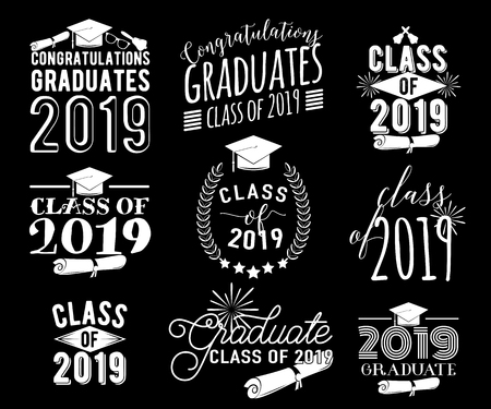 Graduation wishes monochrome overlays, lettering labels design set. Retro graduate class of 2019 badges. Hand drawn emblem with sunburst, hat, diploma, bell. Isolated. Sign or logo.