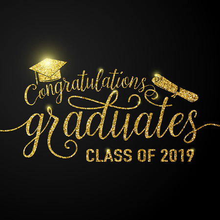Ilustracja wektorowa na tle czarnych absolwentów gratulacje absolwentów klasy 2019, brokat, błyszczący znak na bal maturalny. Typografia pozdrowienia, karta zaproszenie z dyplomami, kapelusz.