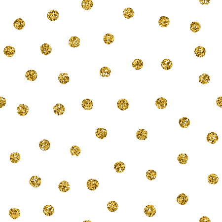 Polka dot seamless pattern with gold glitter spot. Vector chaotic golden texture with glint points isolated on white background. Grunge effect.