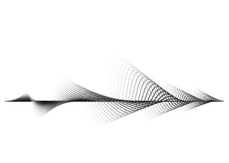 Geluidsgolf vector achtergrond. Audio muziek soundwave. Stem frequentie formulier illustratie. Trillingen kloppen in golfvorm, zwart-witte kleur. Creatief concept.