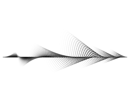 Sound wave vector background. Audio music soundwave. Voice frequency form illustration. Vibration beats in waveform, black and white color. Creative concept.