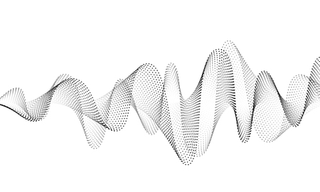 Priorità bassa di vettore dell'onda sonora. Onda sonora di musica audio. Illustrazione del modulo di frequenza vocale. La vibrazione batte in forma d'onda, colore bianco e nero. Concetto creativo. Vettoriali