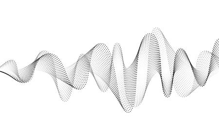 Schallwellenvektorhintergrund. Audio-Musik-Soundwave. Abbildung der Sprachfrequenzform. Vibrationsschläge in Wellenform, Schwarz-Weiß-Farbe. Kreatives Konzept. Vektorgrafik