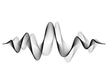 Schallwellenvektorhintergrund. Audio-Musik-Soundwave. Abbildung der Sprachfrequenzform. Vibrationsschläge in Wellenform, Schwarz-Weiß-Farbe. Kreatives Konzept.