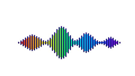 Wave sound vector background. Music flow soundwave design, spectrum color elements isolated on white backdrop. Radio beat frequency consist of lines.