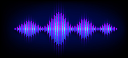 Neon wave sound vector background. Music soundwave design, blue light elements isolated on dark backdrop. Radio frequency beat lines.