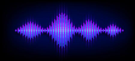 Priorità bassa di vettore del suono dell'onda al neon. Design dell'onda sonora musicale, elementi di luce blu isolati su sfondo scuro. Linee di battuta a radiofrequenza.