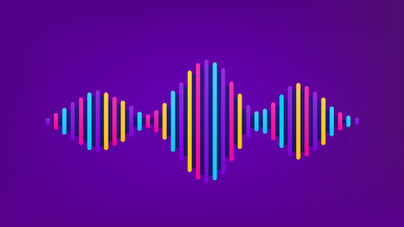 Wave sound vector background. Music flow soundwave design, color elements isolated on purple backdrop. Radio beat frequency consist of lines. Illustration