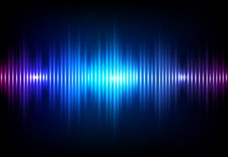 Fala dźwiękowa neon tło wektor. Projekt fali dźwiękowej przepływu muzyki, jasne, niebieskie elementy na białym tle na ciemnym tle. Częstotliwość dudnienia radiowego składa się z linii. Ilustracje wektorowe