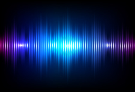 Wave sound neon vector background. Music flow soundwave design, light bright blue elements isolated on dark backdrop. Radio beat frequency consist of lines. Vetores