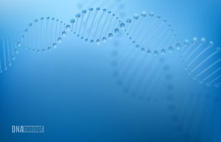 DNA science technology vector background for biomedical, health, chemistry design. Chromosome concept. 3D style pattern in dark blue color.