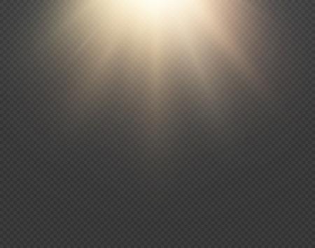 Light sun vector effect isolated on transparent background. Yellow golden warm bright shine texture, sun rays, beams. Sunshine design. Sunrise burst. Top view. Illustration