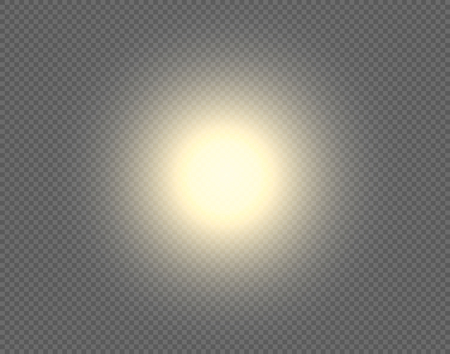 Sun vector background. Sunshine design isolated on transparent backdrop. Round circle yellow graphic element with light bright shine blur effect.