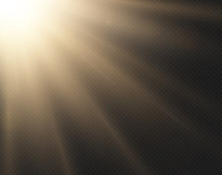 Light sun vector effect isolated on transparent background. Yellow golden warm bright shine texture, sun rays, beams. Sunshine design. Sunrise burst. Side view. Illustration