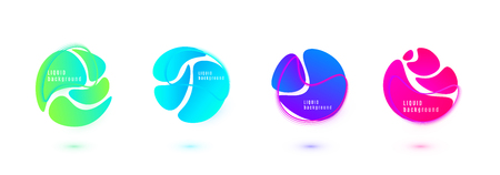 Abstract liquid shape vector design. Fluid gradient background. Isolated graphic wave elements with geometric circle line textures.