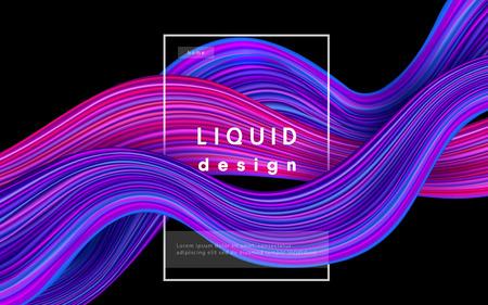 Wave color vector background. Liquid flow paint 3d design illustration. Geometric dynamic wavy color ink art concept Çizim