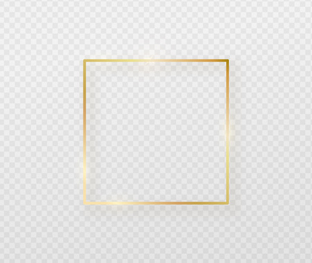Golden border frame with light shadow and light affects. Gold decoration in minimal style. Graphic metal foil element in geometric thin line square shape
