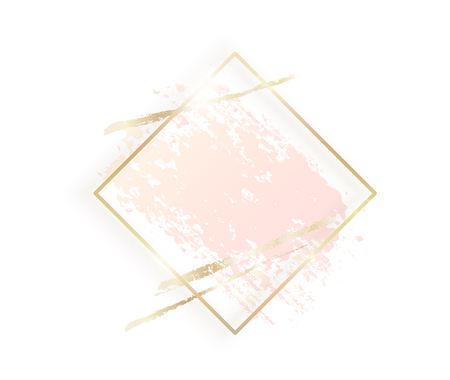Gold rhombus frame with pastel pink texture, shadow, golden brush strokes isolated on white background. Geometric rectangular shape border in golden foil for cosmetics, beauty, makeup template.