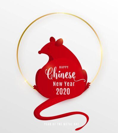2020 rat happy chinese new year. Red mouse is simple flat style sitting back on gold shiny metal circle. Vector illustration with word sign wishes.