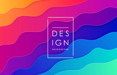 Paper cut abstract wave vector background. Wavy layout in bright vibrant rainbow color for minimal pattern design.