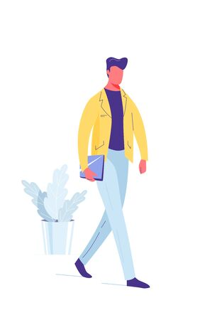Man walk with laptop in his hand, vector background illustration in trendy simple flat style. Front view