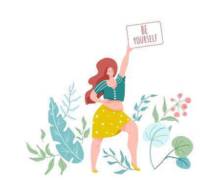 Sii te stesso. Donna sorridente con corpo taglie forti in gonna, camicia. Illustrazione vettoriale con elementi di natura floreale verde. Amore per il corpo, concetto positivo. Vettoriali