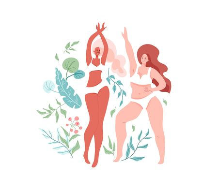 Love your body vector illustration with two different beautiful dancing women wearing in lingerie, bra and bikini. Body positive, girl power concept. Self esteem design. Floral nature elements