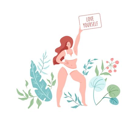 Love yourself. Smiling woman with plus size body wearing in lingerie. Vector illustration with green floral nature elements. Body positive concept Illustration