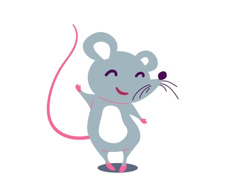 Cartoon cute rat in simple flat style. Vector illustration Ilustrace