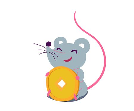 Cartoon cute rat in simple flat style sitting and holding money. Vector illustration