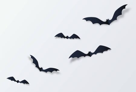 Halloween bat vector decor background. Paper cut style. Black vampire flittermouse flying over white backdrop