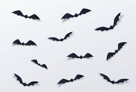 Halloween bat vector decor background. Paper cut style. Black vampire flittermouse flying over white backdrop Фото со стока - 132121938