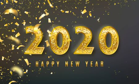 2020 Happy New Year vector background with big golden glitter numbers, shiny confetti. Christmas celebrate design. Festive premium concept template for holiday. On dark backdrop