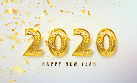 2020 Happy New Year vector background with big golden glitter numbers, shiny confetti. Christmas celebrate design. Festive premium concept template for holiday. On light backdrop