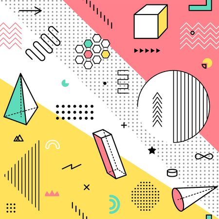 Color pattern with geometric graphic elements. Geometrical shapes backdrop for abstract fashion vector background design in trendy simple memphis style