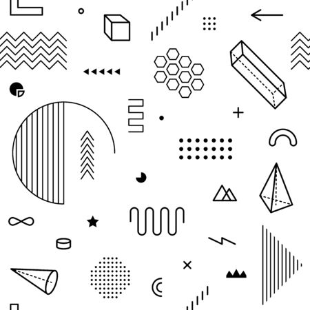Seamless pattern with geometric graphic elements. Geometrical shapes backdrop for abstract vector background design in trendy simple memphis style. Black and white color