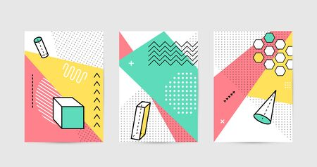 Poster design with geometric graphic elements. Geometrical shapes pattern set for abstract fashion vector background in trendy simple memphis style
