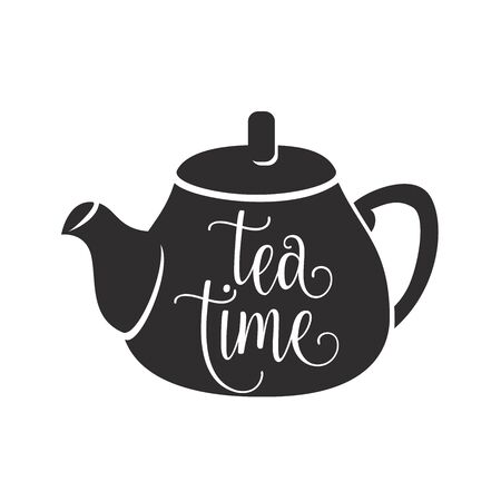 Tea time vector illustration with graphic black teapot and white lettering word sign on it surface