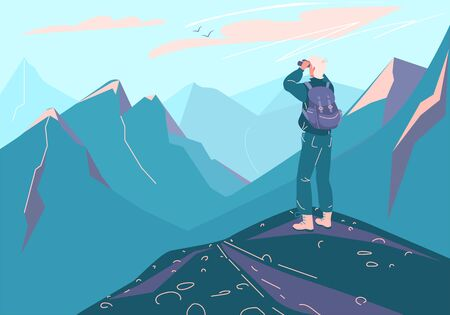 Explore mountain vector background. Man with backpack and binoculars stand on peak edge and look on landscape. Illustration design for travel, adventure, discovery, hiking, climbing, trekking tourism