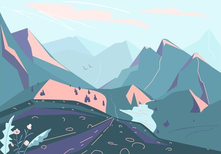 Mountain landscape vector background with hill silhouette, plant, valley, lake and river. Illustration for travel, adventure, discovery design
