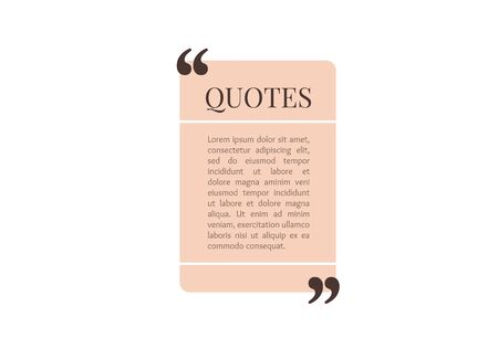 Quote text box, rectangle bubble for comment, mark design. Quotation banner template in flat modern style. Vector illustration background